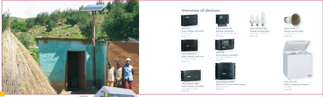Overview of devices: Steca PR Steca PR Solar charge controller Steca Solsum VC Voltage converter