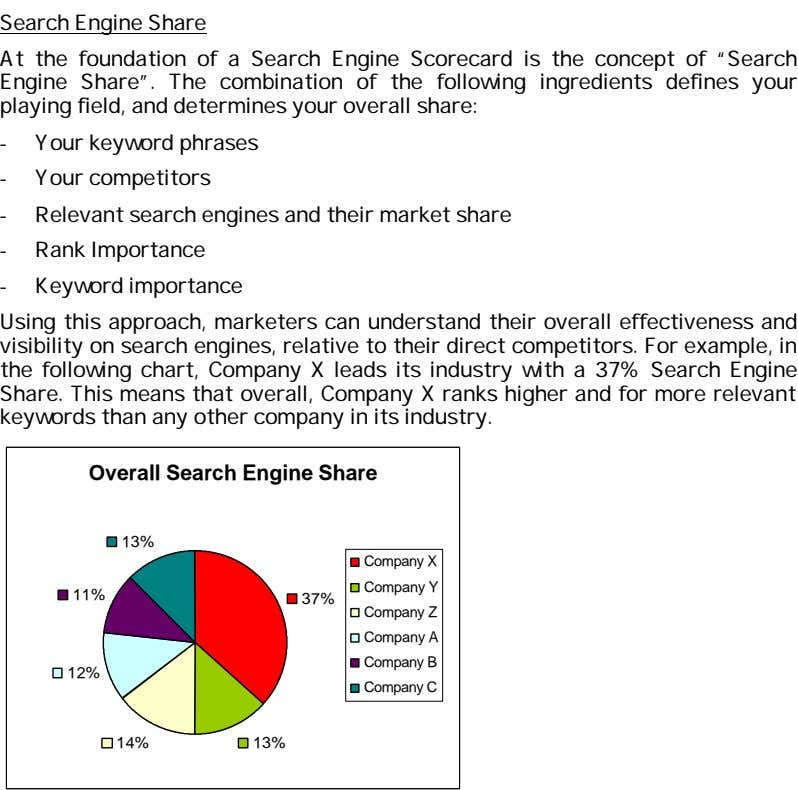 Search Engine Share At the foundation of a Search Engine Scorecard is the concept of