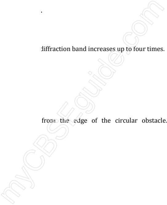 diffraction band increases up to four times. from the edge of the circular obstacle.
