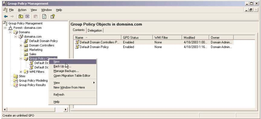 3.9 shows. Figure 3.9 The GPMC's Group Policy-centric view You create new GPOs through the GPMC.