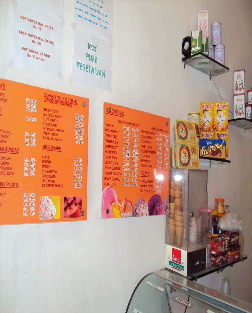 PIC:PRODUCT DISPLAY IN A SCOOPING PARLOUR LOCATED IN G.S ROAD