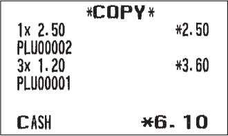 "A For receipting l F 4* * ""5"" for XE-A207 Print Print on the receipt ""COPY"""