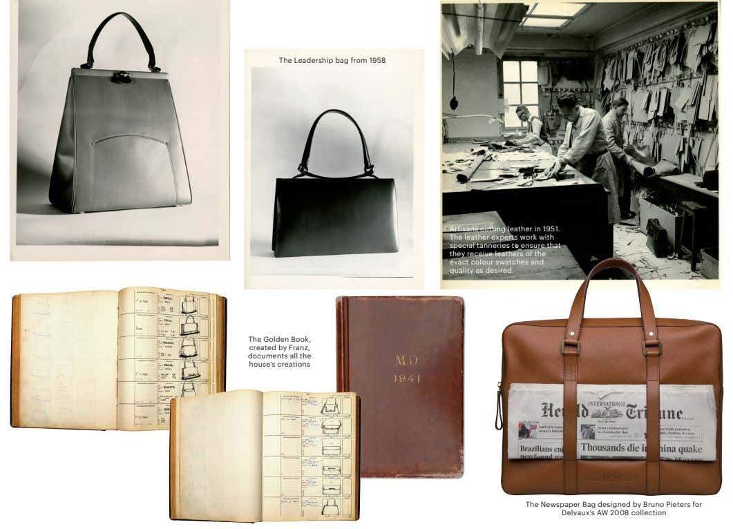 The Leadership bag from 1958 Artisans cutting leather in 1951. The leather experts work with