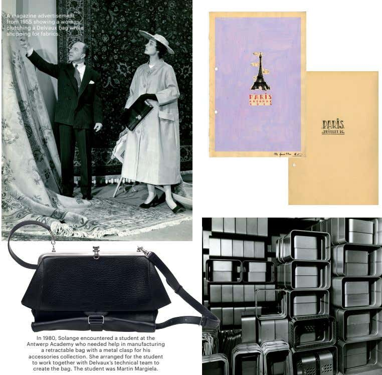 A magazine advertisement from 1955 showing a woman clutching a Delvaux bag while shopping for