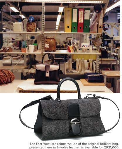 The East-West is a reincarnation of the original Brilliant bag, presented here in Envolee leather,