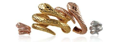 with prices starting from QR191 per pair. TWISTED SNAKE RINGS BY ARISTOCRAZY With a campaign shot