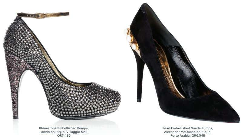 Rhinestone Embellished Pumps, Lanvin boutique, Villaggio Mall, QR11,186 Pearl Embellished Suede Pumps, Alexander