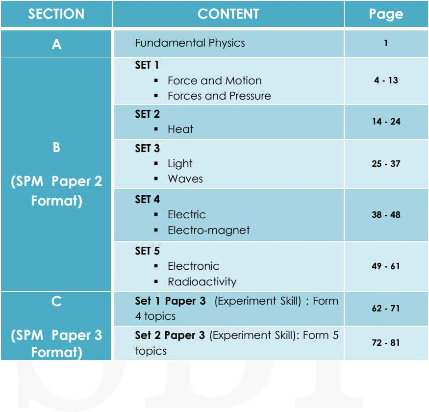 SECTION CONTENT Page A Fundamental Physics 1 SET 1  Force and Motion 4 -