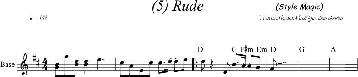 (5) Rude (Style Magic) q = 148 Transcrição: Rodrigo Gordinho D G F # m