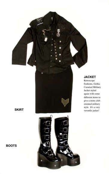 JACKET SKIRT Retroscope Fashions, Gothic Corseted Military Jacket styled again with some different items to