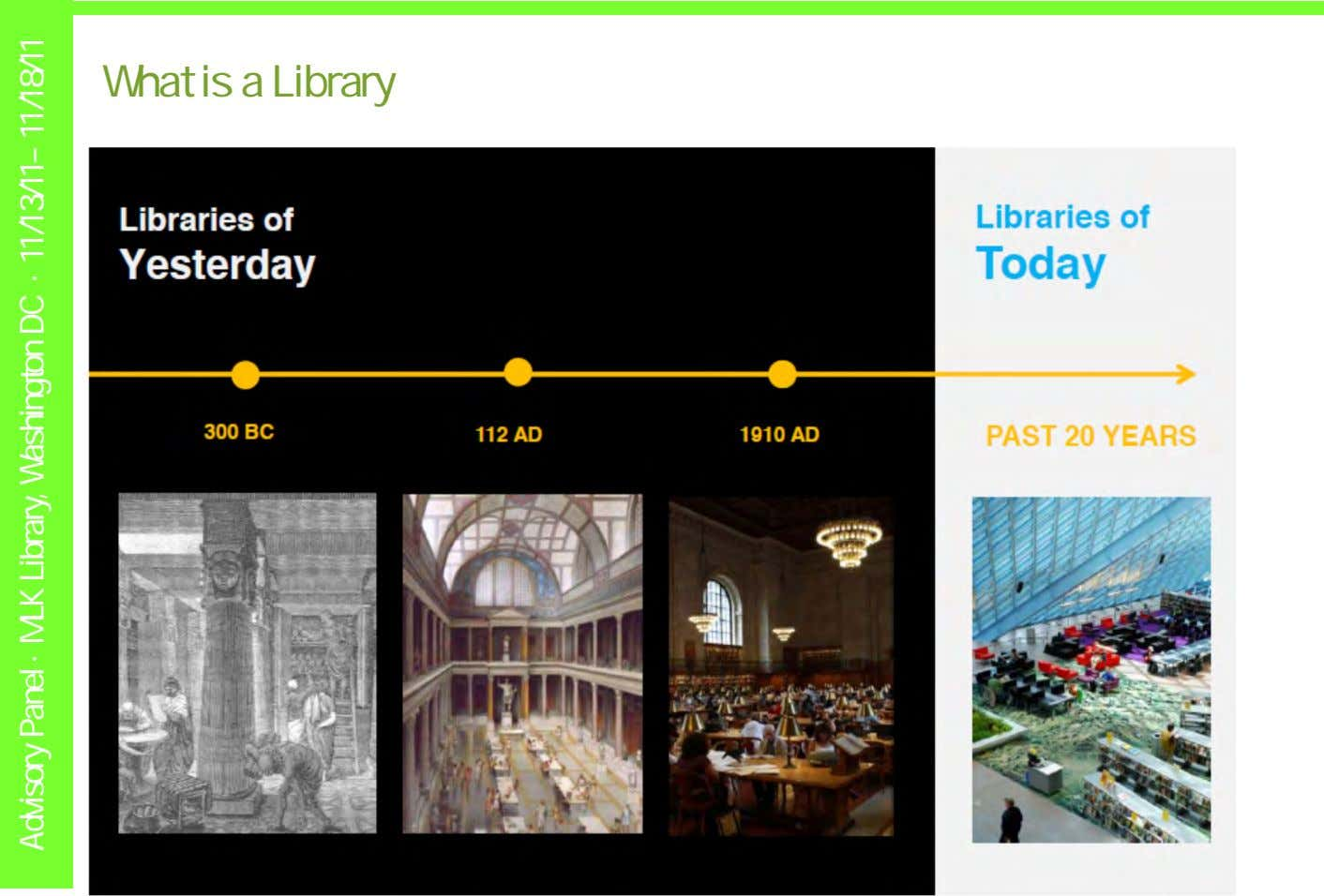 What is a Library Advisory Panel · MLK Library, Washington DC · 11/13/11– 11/18/11