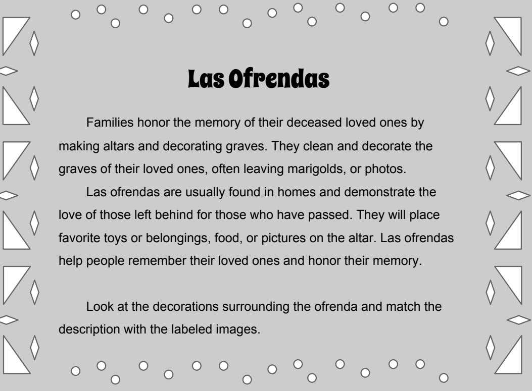 Las Ofrendas Families honor the memory of their deceased loved ones by making altars and