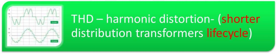 THD – harmonic distortion- (shorter distribution transformers lifecycle)