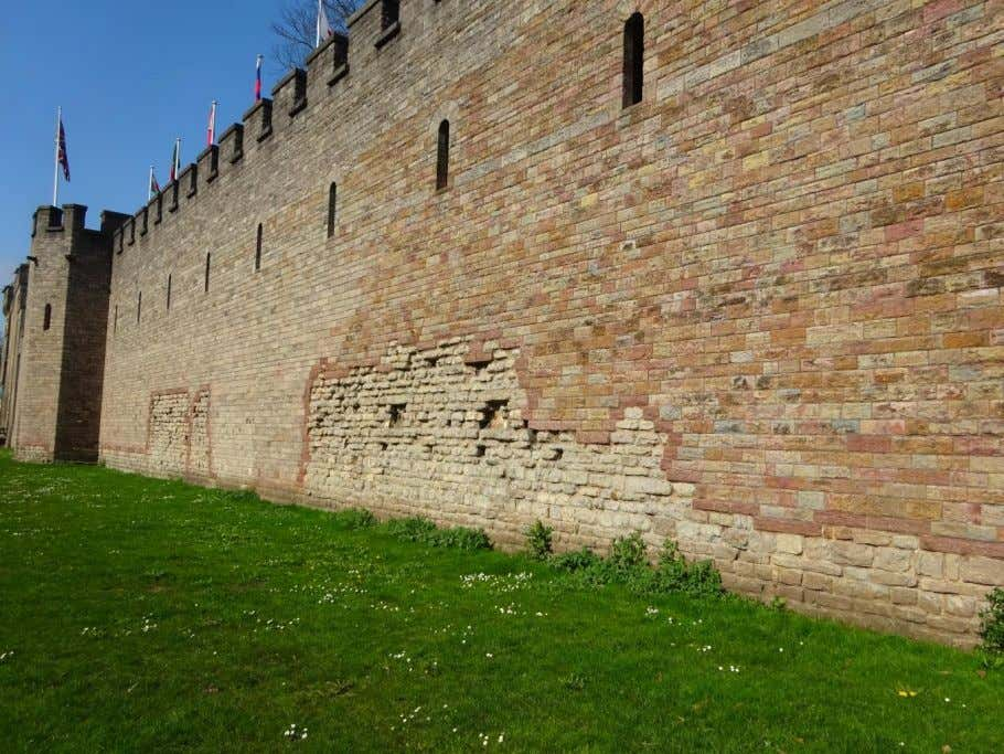 Some Roman walling remains at the south wall of Cardiff Castle. Generally all below the