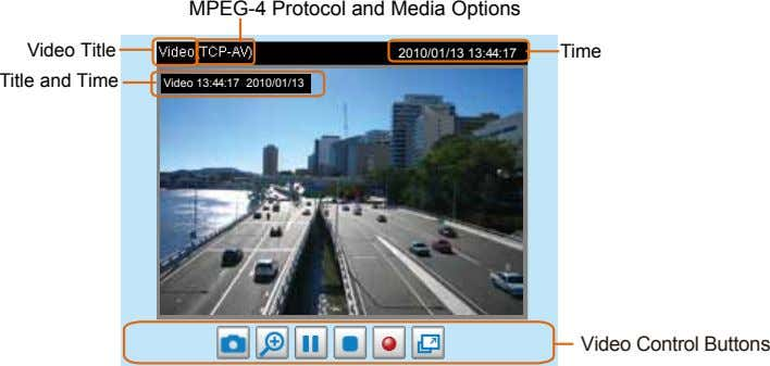 MPEG-4 Protocol and Media Options Video Title Title and Time Time 2010/01/13 13:44:17 Video 13:44:17