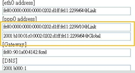 be displayed in the IPv6 information column as shown below. Manually set up the IP address