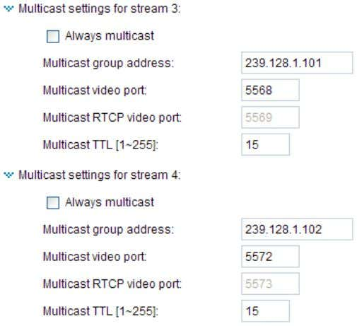 multicast option to enable multicast for stream 1 ~ 4. Unicast video transmission delivers a stream
