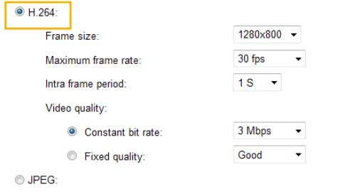 four parameters for you to adjust the video performance: ■ Frame size You can set up