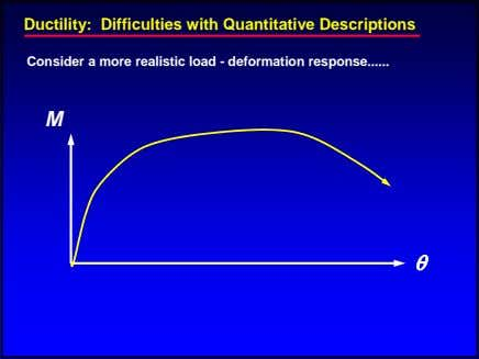 Ductility: Difficulties with Quantitative Descriptions Consider a more realistic load - deformation response M θ