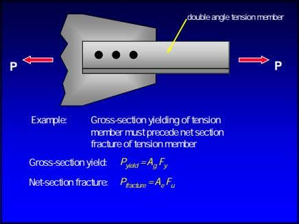 double angle tension member P P Example: Gross-section yielding of tension member must precede net