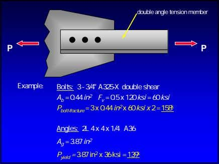 "double angle tension member P P Example: Bolts: 3 - 3/4"" A325-X double shear A"