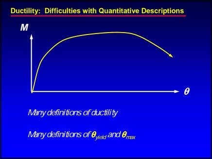 Ductility: Difficulties with Quantitative Descriptions M θ Many definitions of ductility Many definitions of θ