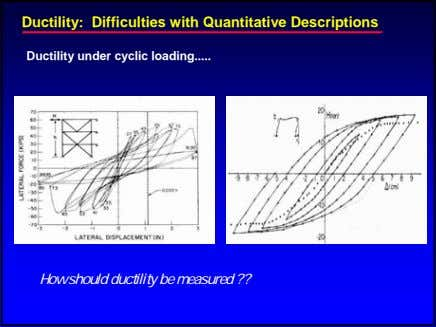 Ductility: Difficulties with Quantitative Descriptions Ductility under cyclic loading How should ductility be measured ??