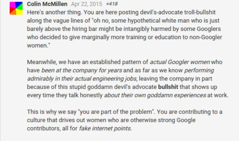 "of ""upvotes"" from other Googlers showing their approval. 159. The Caucasian male employee's own manager replied"