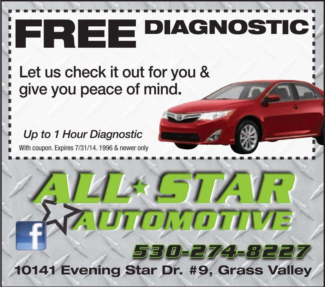 FREE DIAGNOSTIC Let us check it out for you & give you peace of mind.