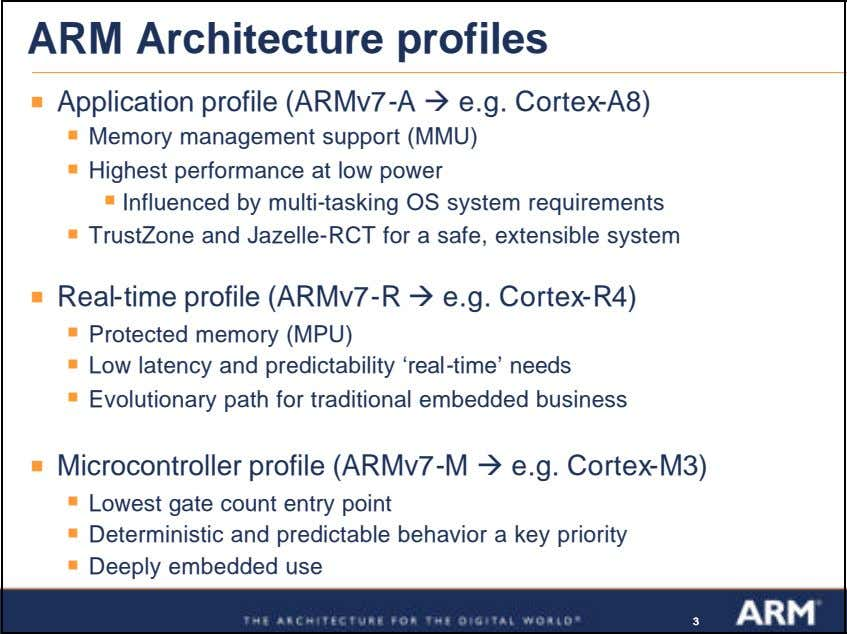 ARM Architecture profiles ß Application profile (ARMv7-A ‡ e.g. Cortex-A8) ß Memory management support (MMU)