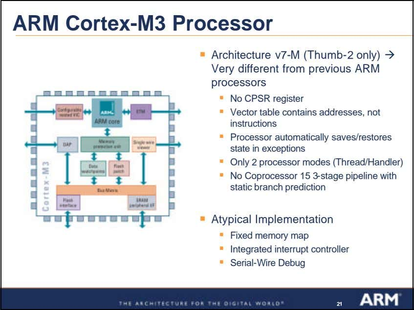 ARM Cortex-M3 Processor ß Architecture v7-M (Thumb-2 only) ‡ Very different from previous ARM processors