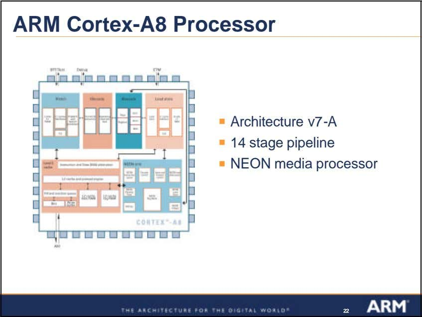 ARM Cortex-A8 Processor ß Architecture v7-A ß 14 stage pipeline ß NEON media processor 222222