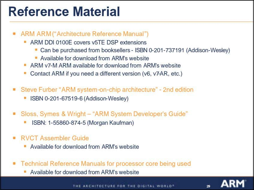 "Reference Material ß ARM ARM (""Architecture Reference Manual"") ß ARM DDI 0100E covers v5TE DSP"
