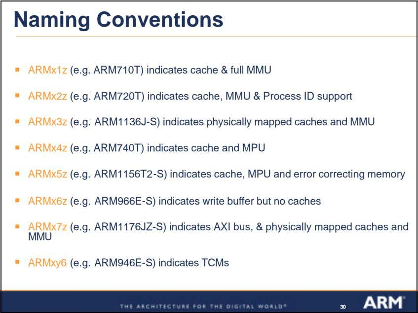 Naming Conventions ß ARMx1z (e.g. ARM710T) indicates cache & full MMU ß ARMx2z (e.g. ARM720T)