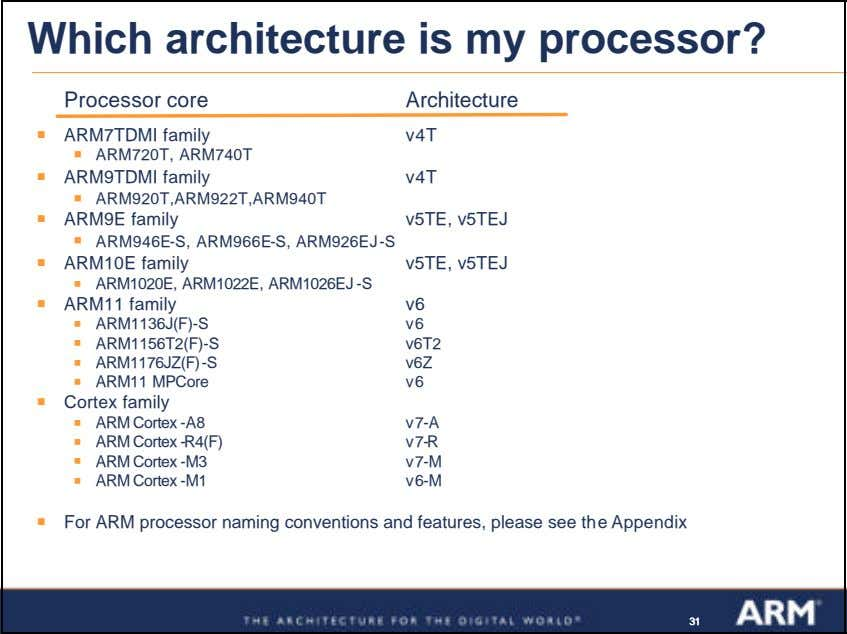 Which architecture is my processor? Processor core Architecture ß ARM7TDMI family v4T ß ARM720T, ARM740T