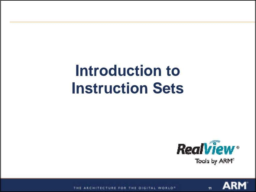 Introduction to Instruction Sets 111111