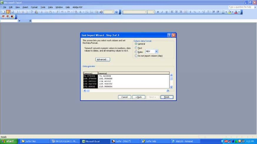 Wizard step 2 ' , pilih menu Delimiters ' Comma '. Gambar 1 . 10 .