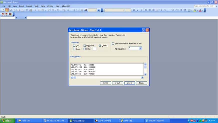 Gambar 1 . 9 . Pada menu ' Text Import Wizard step 2 ' ,