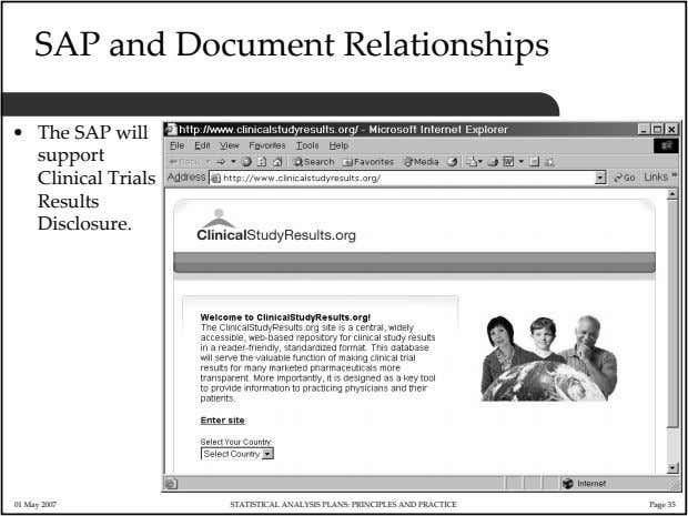 SAP and Document Relationships • The SAP will support Clinical Trials Results Disclosure. 01 May