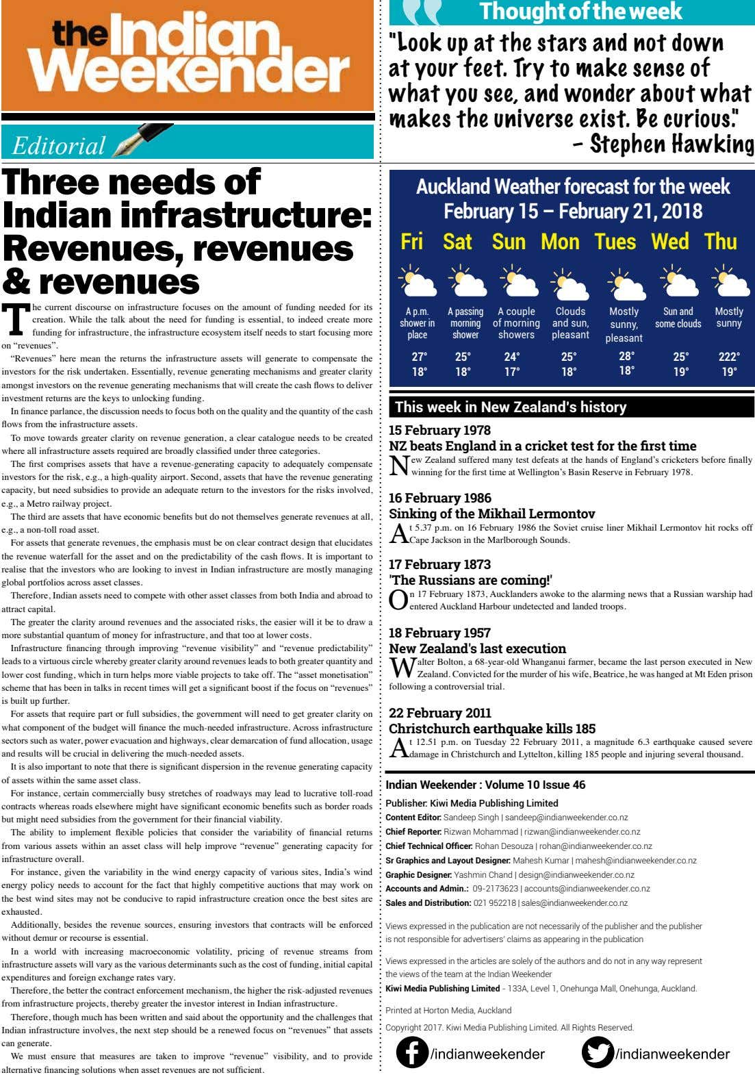 Editorial Three needs of Indian infrastructure: Revenues, revenues & revenues T he current discourse on