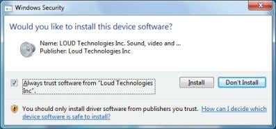 "from Loud Technologies Inc"" and click ""Install"". 5. Click ""Finish"" after the driver has been"