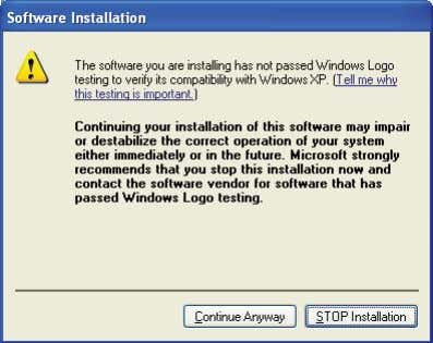 "Anyway"" at the Windows Logo testing prompt. page 4 of 9 5. Click ""Finish"" after the"