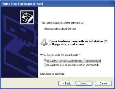 """Install the software automatically (Recommended)"" for the Mackie Audio Subunit Device and click ""Next""."