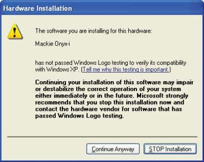 "Anyway"" at the Windows Logo testing prompt. page 5 of 9 10. Click ""Finish"" after the"