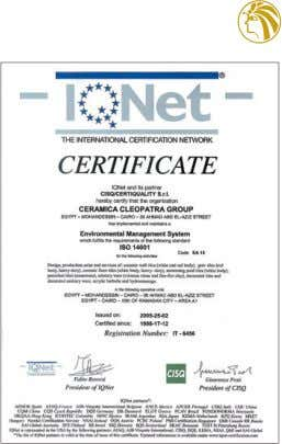 116 THE QUALITY GROUP CERAMICA CLEOPATRA OBTAINS ISO 9001 CERTIFICATION FOR ITS QUALITY SYSTEM. Group Ceramica