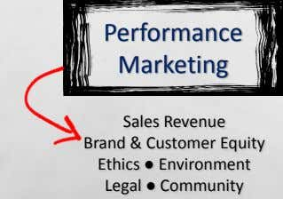 Performance Marketing Sales Revenue Brand & Customer Equity Ethics ● Environment Legal ● Community