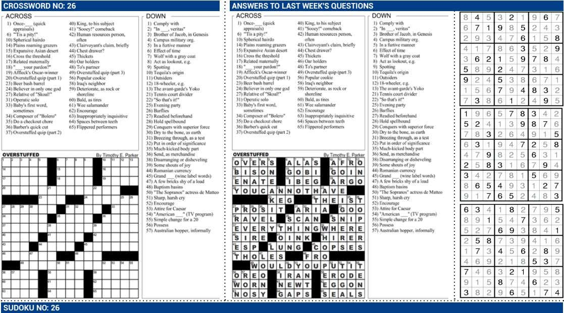 CROSSWORD NO: 26 ANSWERS TO LAST WEEK'S QUESTIONS SUDOKU NO: 26