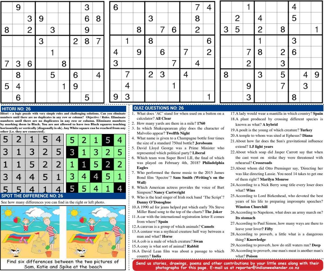 QUIZ QUESTIONS NO: 26 HITORI NO: 26 Hitori – a logic puzzle with very simple