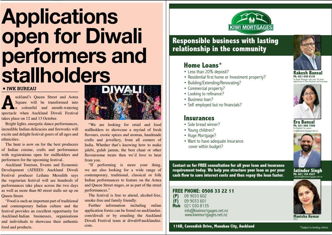 Applications open for Diwali performers and stallholders Responsible business with lasting relationship in the