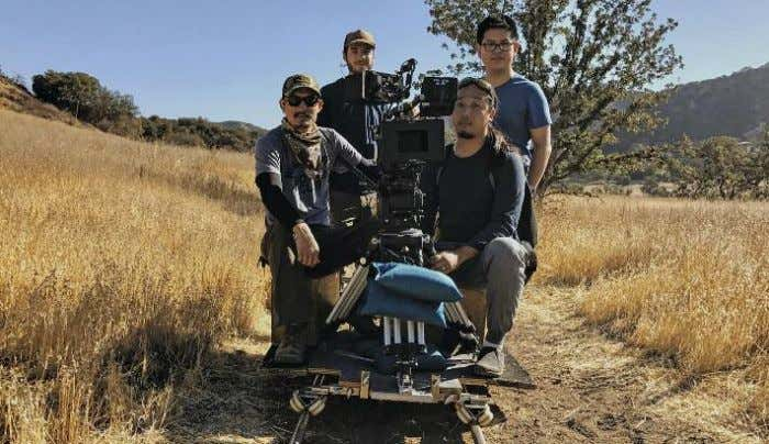 Top (from left): First AC Andy Chen, 2nd AC Grant Friesen, cinematographer Tinx Chan and
